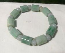 Certified  green jadeite jade 12X15mm+8mm bead men/women bracelet L23cm adjust