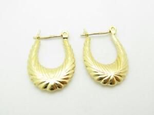 14k Yellow Gold Shrimp Wave Design Oval Hoop Earrings 1.1 Grams Gift