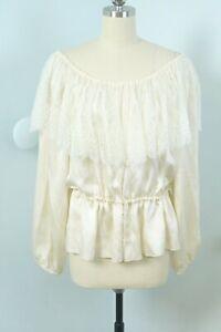 Vintage 80s Vicky Tiel Ivory Silk Victorian Prairie Off the Shoulder Blouse L
