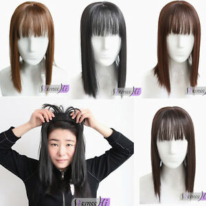 Cover gray hair hairpiece women top Synthetic hair with bang topper replacement