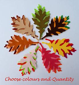 Felt Leaves Oak 9 cm 90 mm Green Orange Brown Red Autumn Summer Black Craft