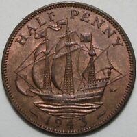 1943   George VI Half-Penny   Bronze   Coins   KM Coins