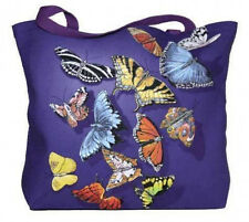 Butterfly Splash Heavy Canvas Tote Bag Colorful Graphic  NEW