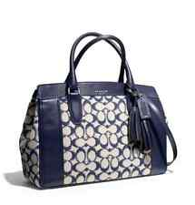 NWT COACH LEGACY NEEDLEPOINT SIGNATURE CHELSEA CARRYALL SILVER NAVY F25381