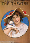 THE THEATRE MAGAZINE FOR PLAYGOERS COVER GIRL WITH CAT USA VINTAGE POSTER REPRO