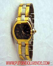 Mens Gold Tone & Stainless Steel Watch Oblong blackface-Geneva s/s