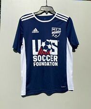 Adidas Us Soccer Foundation Mls Works Climalite Blue White Kids Large Jersey