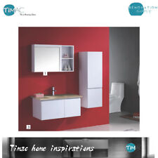 900mm Wall Hung Range Bathroom Finger Pull Vanity  With Glass Top