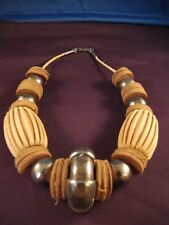 Wilma Spagli Tribal Necklace of Leather, Paper & Silver Accent