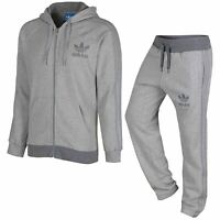 ADIDAS NEW MEN'S ORIGINALS FLEECE SPO FULL TRACKSUIT grey