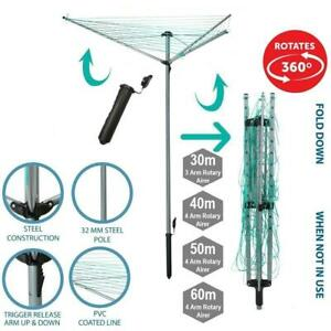 Laundry Clothes Rotary Airer Outdoor Washing Line 30m, 40m, 50m & 60m