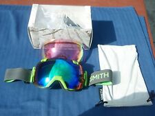 Smith I/OX Ski Snowboard Goggles Reactor Green, Green Sol-X /Red Sensor Lenses