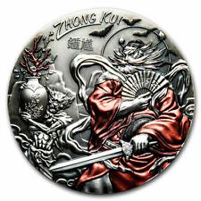 2019 Cook Islands 3 oz Antique Silver Asian Mythology: Zhong Kui - SKU#200469