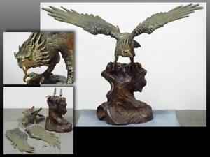 Japanese EAGLE Iron Large Statue / W 91×H 75.5cm 24.5kg  / MEIJI ERA [1868-1912]