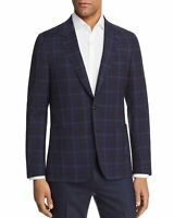 Paul Smith Mens Slim Fit Check Unconstructed Wool Sportcoat 40R Navy
