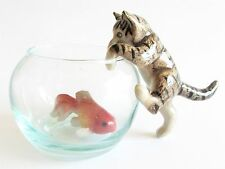 Tabby Cat on Glass Bowl with Fish Miniature Cat Figurine (2) Climbing In Bowl
