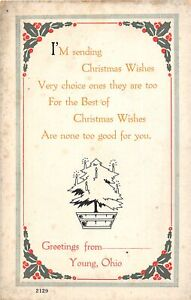 H66/ Young Ohio Postcard c1910 Greetings from Christmas Scioto County 164