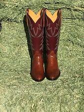 New Women's Cognac Lizard Cowboy Boots