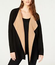 Eileen Fisher Organic Cotton Cascading-Front Cardigan Black/Clay Size 2X