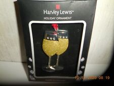 Harvey Lewis Holiday Champagne Glasses Tree Ornament Crystals from Swarovski