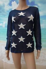 Kaleidoscope Navy Blue Pointelle Knit Star Motif Sweater Jumper sz 14/16 RRP £49