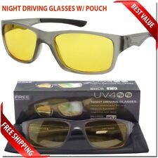 SPORT WRAP NIGHT DRIVING VISION GLASSES YELLOW LENS WITH CASE MENS WOMEN EYEWEAR