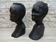 More details for carved african heads vintage beautiful pair men & woman