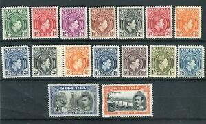 Nigeria KGVI 1938-47  definitive set of 16 SG49/59a MNH