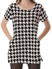 Houndstooth Women Scoop Neckline Pockets Top Shirt Blouse b16 acr03314