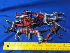 8 Antique-VTG Celluloid Hard Plastic Xmas Reindeer from Santa Claus Sleigh