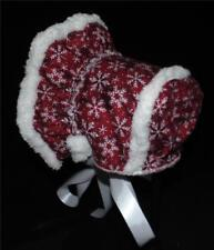 Handmade Red with White Snowflakes Sherpa Lined Bonnet