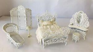 Victorian Dollhouse White Metal 6 Pc Bedroom Set Vanity Bed Screen Lamp Lounge