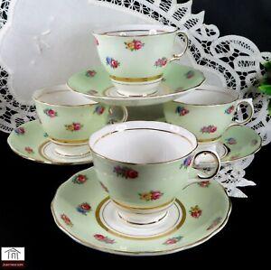 Vintage COLCLOUGH TEA CUPS & SAUCERS, GREEN FLORAL  x 4 - Bone China England.