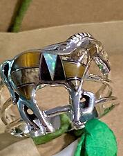 Gemstone Horse Opal & Onyx & Tigers Eye & Butterfly Jasper Sterling Silver Ring
