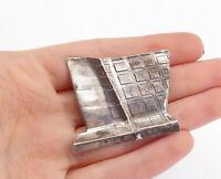 925 Sterling Silver - Vintage Shiny Modernist Designed Brooch Pin - BP5976