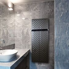 450mm Wide 1200mm High Black Designer Heated Towel Rail Radiator Slim Bathroom