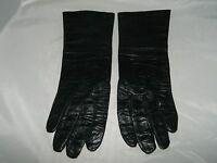 VTG NOS Le Gant Trefousse French Black Leather Tailored Gloves Silk Lined Size 6