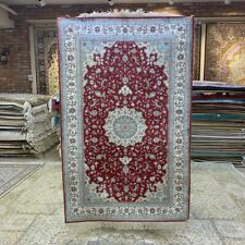 Yilong 3'x5' Red Hand Knotted Silk Indoor Rug Traditional Antistatic Carpet 254B