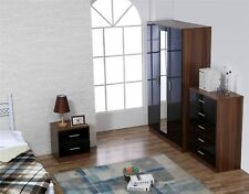 REFLECT High Gloss Black / Walnut 3 Piece Bedroom Furniture Mirror Set SoftClose