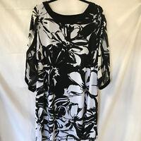 Lane Bryant Black White Dress 18/20 Bat Sleeves Coverup
