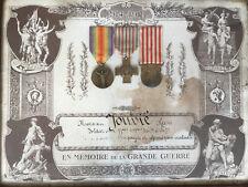 1914 - 1918 TABLEAU SOUS VITRE EN MEMOIRE DE LA GRANDE GUERRE 3 MEDAILLES C1064