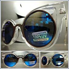 VINTAGE 60's RETRO CAT EYE Style SUN GLASSES Transparent Frame Blue Mirror Lens