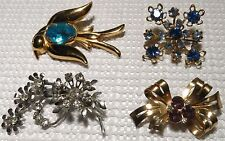 Vintage LOT 4  Brooches Pins Collection Stunning Designs & Stone Colors 2 Coro