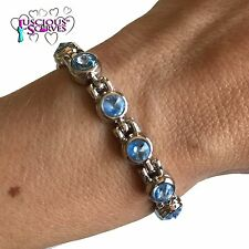 LADIES STRONG SILVER ALLOY MAGNETIC HEALING BRACELET PAIN RELIEF BLUE STONES