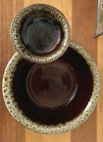 Hull Brown Drip Glaze Stoneware Vintage Chips And Salsa Bowls RARE