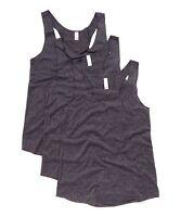 New Womens 3 Pack Black Tri-Blend Racerback Sleeveless Tank Top Tops S M L XL