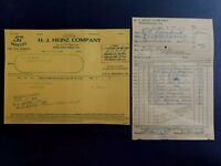 1917 & 18 Bill Heads Philadelphia PA ~ H. J Heinz Co ~ Ketchup
