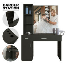 Salon Barber Station Wall Mount Hair Styling w/Mirror Makeup Spa Equipment Set