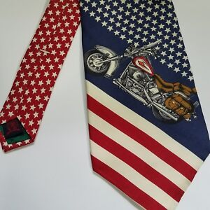 Vtg Tommy Hilfiger Necktie 100% Silk Made USA Stars Stripes Motorcycle America