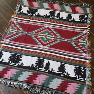 Vintage Aztec Style Ethnic Woven Tapestry Effect Blanket / Throw
